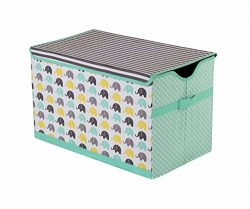Bacati Elephants Unisex Fabric Storage Toy Chest to Keep Your Childs Room Organized, Mint/Yellow ...