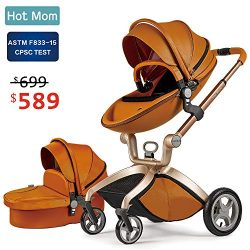 Baby Stroller 2018, Hot Mom Baby Carriage with Bassinet Combo,Brown