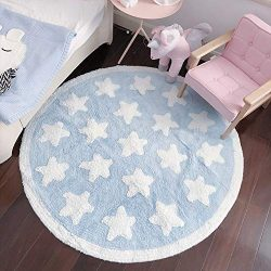 Plush Cotton Star Round Rug – Soft Baby Crawling Play Mat Kids Teepee Tent Game Carpet Flu ...