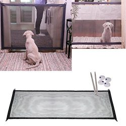 LEF Retractable Mesh Gate for Animals Toddlers & Babies – Easy Portable Folding Mesh S ...