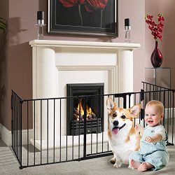 Charavector Fireplace Gate Fence Baby Safety Gate Play Yard Stairway Barrier Indoor Gate Metal F ...