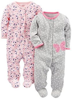 Simple Joys by Carter's Baby Girls' 2-Pack Cotton Footed Sleep and Play, Gray Butter ...