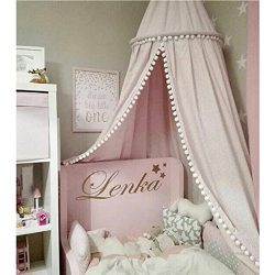 LOAOL Kids Bed Canopy with Pom Pom Hanging Mosquito Net for Baby Crib Nook Castle Game Tent Nurs ...