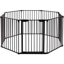 Costzon Baby Safety Gate, 4-in-1 Fireplace Fence, 204-Inch Wide Barrier with Walk-Through Door i ...