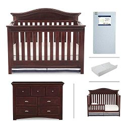 Nursery Furniture Set with Convertible Crib, Dresser, Crib Mattress, Changing Pad and Daybed/Tod ...
