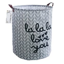 FANKANG Storage Bins, Nursery Hamper Canvas Laundry Basket Foldable with Waterproof PE Coating L ...