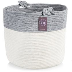 Bijoux Basics Cute Round Woven Cotton Rope Basket with Handles: Large Basket for Nursery / Laund ...