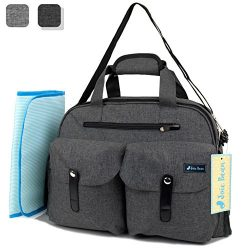 JOIE BEAN Baby Diaper Tote Bag with Changing Mat and Insulated Pockets, Large Capacity Travel Ba ...
