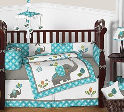 Sweet Jojo Designs 9-Piece Turquoise Blue Gray and White Mod Elephant Crib Bed Bedding Set with  ...