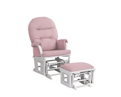 Lennox Contemporary Style Glider Chair and Ottoman Combo, White with Pickwick Pink