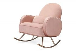 Nursery Works Compass Rocker in Blush Velvet with Rose Gold Legs