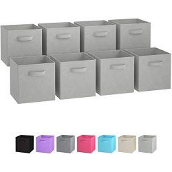 Royexe Set of 8 Foldable Fabric Storage Cube Bins | Collapsible Cloth Organizer Baskets Containe ...