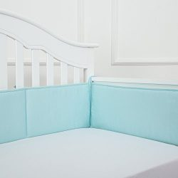 TILLYOU Cotton Collection Breathable Crib Bumper Pads for Standard Cribs Machine Washable Padded ...