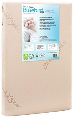 Moonlight Slumber Mini Crib Mattress 5″ Dual Firmness: Baby Bluebird Waterproof Portable C ...