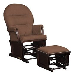 Lennox Contemporary Style Glider Chair and Ottoman Combo, Espresso with Chocolate