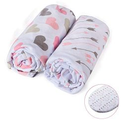 Momcozy Universal Bassinet Sheets Set 2 Pack for Girls, Soft & Breathable 100% Cotton, Fitte ...