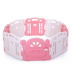 Tobbi Baby Playpen Safety Play Center Yard Baby Kids Home Indoor Outdoor Pen 8 Panel Pink + White