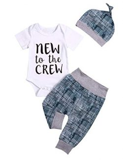 Newborn Baby Boy Clothes Crew Letter Print Romper+Long Pants+Hat 3PCS Outfits Set (Green, 3-6M)