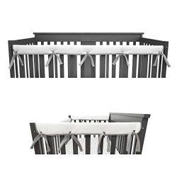 American Baby Company Heavenly Soft Narrow Reversible Crib Cover Set for 1 Long Rail & 2 Sid ...