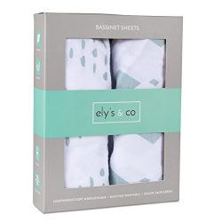 Bassinet Sheet Set 2 Pack 100% Jersey Cotton for Baby Girl and Baby Boy by Ely's & Co. ...