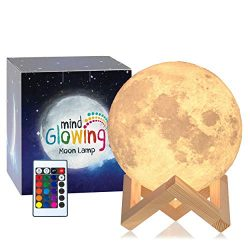 Mind-glowing 3D Moon Lamp – 16 LED Colors, Dimmable, Rechargeable Lunar Night Light (Large ...