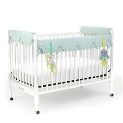 Babee Talk Eco-Teether Organic Cotton Baby Crib Rail Cover with Teether Toys (Aqua, Narrow)