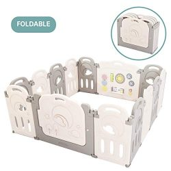 Cloud Castle Foldable Playpen by Classy Kiddie, Baby Safety Play Yard with Whiteboard and Activi ...