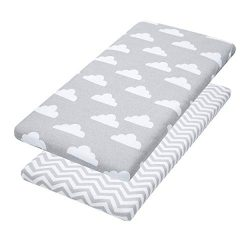 Bassinet Sheets, 2 Pack Clouds/Chevron Fitted Soft Jersey Cotton Cradle Bedding