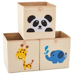 EZOWare Set of 3 Foldable Fabric Basket Bin, Collapsible Storage Cube for Nursery Home, Kids and ...