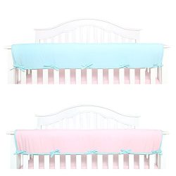 TILLYOU 1-Pack Padded Baby Crib Rail Cover Protector Safe Teething Guard Wrap for Long Front Cri ...