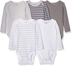 Hanes Ultimate Baby Flexy 5 Pack Long Sleeve Bodysuits, Grey Stripe, 0-6M