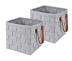 Collapsible Storage Basket Bins, Foldable Handmade Felt Storage Box Cubes Containers with Leathe ...