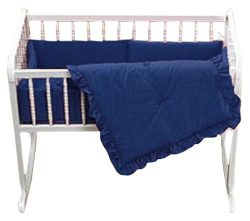Baby Doll Bedding Solid Cradle Set, Navy