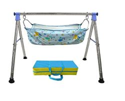 EverEx Folding Stainless Steel Indian Style ghodiyu palna Swing Cradle jhula for Born Baby with  ...