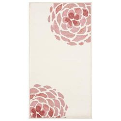 Evolur Home Madison Blooming Peony Nursery Rug 55'x31.5′ in Rose Quartz and Ivory