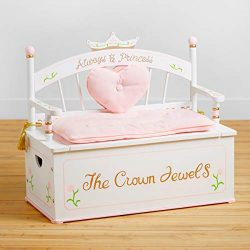 Wildkin Princess Bench Seat with Storage, Features Removable Plush Cushions, Two Side Handles, & ...