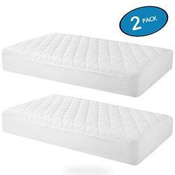 "MoMA Waterproof Crib Mattress Cover (Set of 2) – 52""x 28"" White Crib Mattress Protector &# ..."