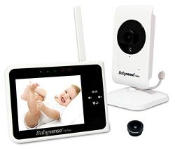 Babysense Video Baby Monitor 3.5″ with Interchangeable Wide Angle Lens | Keep Babies Safe  ...