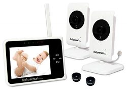 Babysense Video Baby Monitor 3.5″ with Two Cameras | Interchangeable Wide Angle Lens | Kee ...