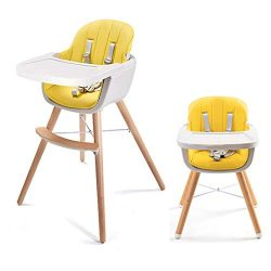 Asunflower Wooden High Chair 3 in 1 Convertible Modern Highchair Solution with Cushion, Adjustab ...