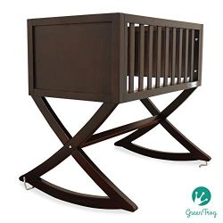 Green Frog, Allegro Cradle | Handcrafted Contemporary Wood Baby Cradle | Premium Pine Constructi ...
