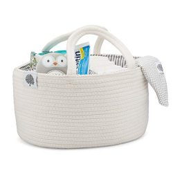 Parker Baby Rope Diaper Caddy – Nursery Storage Bin and Car Organizer for Diapers and Baby ...