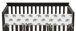 Sweet Jojo Designs Grey and White Long Front Crib Rail Guard Baby Teething Cover Protector Wrap  ...