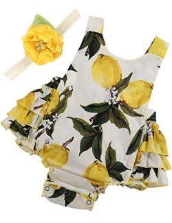 PrinceSasa Baby Girl Clothes Yellow Lemon Floral Ruffles Summer Cake Smash Dress and Headband fo ...