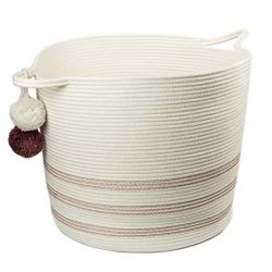 Sweetzer & Orange Extra Large Woven Cotton Rope Storage Basket w/Pom-Poms – 16.5&#8243 ...