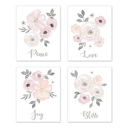 Sweet Jojo Designs Blush Pink, Grey and White Love Peace Joy Bliss Wall Art Prints Room Decor fo ...