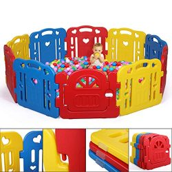 JAXPETY Baby Playpen Kids 10 Panel Safety Play Fence Center Yard Home Indoor/Outdoor New Pen