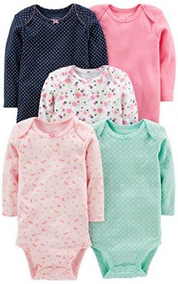 Simple Joys by Carter's Baby Girls' 5-Pack Long-Sleeve Bodysuit, Pink/Navy/Mint, 12  ...