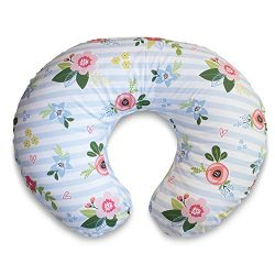 Boppy Cotton Blend Nursing Pillow and Positioner, Blue Pink Posy