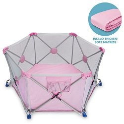 D.LIN Playpen Pop N' Portable Playard for Babies/Toddler/Newborn/Infant with Travel Bag,6- ...